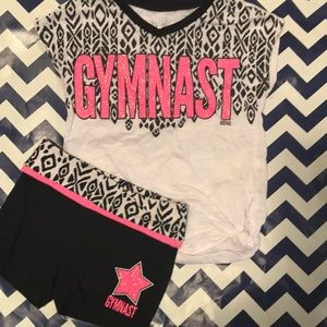 GUC JUSTICE Girls Sz 6 'Gymnast' Tee/Shorts Outfit
